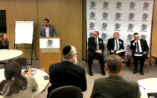 Panelists at a 2017 summit convened by leaders in the NY Orthodox community to address child sexual abuse in the Jewish community. Panel members included, from left, Manny Waks, Rabbi Mark Dratch, David Cheifetz and Rabbi Chaim Dovid Zwiebel. JW/Josh Mendlowitz