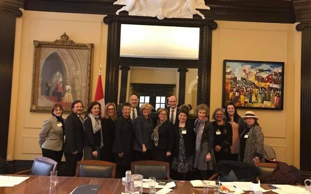 Jewish leaders meet with The Honourable Carla Qualtrough, P.C., M.P., Minister of Sport and Persons with Disabilities and The Honourable Jean-Yves Duclos, P.C., M.P., Minister of Families, Children and Social Development. Courtesy of Liviya Mendelsohn
