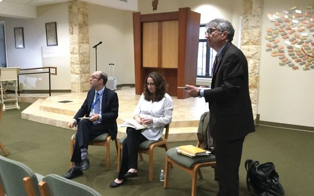 Rabbi Jeffrey J. Sirkman, standing, Rabbi Bethie Miller and Rabbi Joshua Lookstein at recent dialogue. Merri Rosenberg/JW