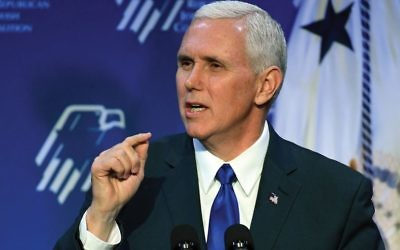 Vice President Mike Pence, at Republican Jewish Coalition gathering, pledged Trump administration's support for Israel and opposition to anti-Semitism. GETTY IMAGES