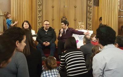 Munther Alaskry, center, flanked by Beth Elohim Rabbi Rachel Timoner, right, and congregant Debbie Brukman. Hella Winston/JW