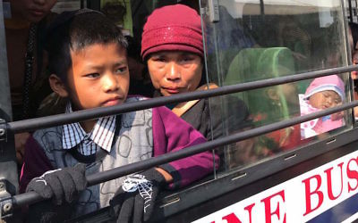 "Members of the ""Bnei Menashe"" Jewish community in Aizawl, the capital of Mizoram, India, on their way to the airport, Feb. 12, 2017. (Shavei Israel)"