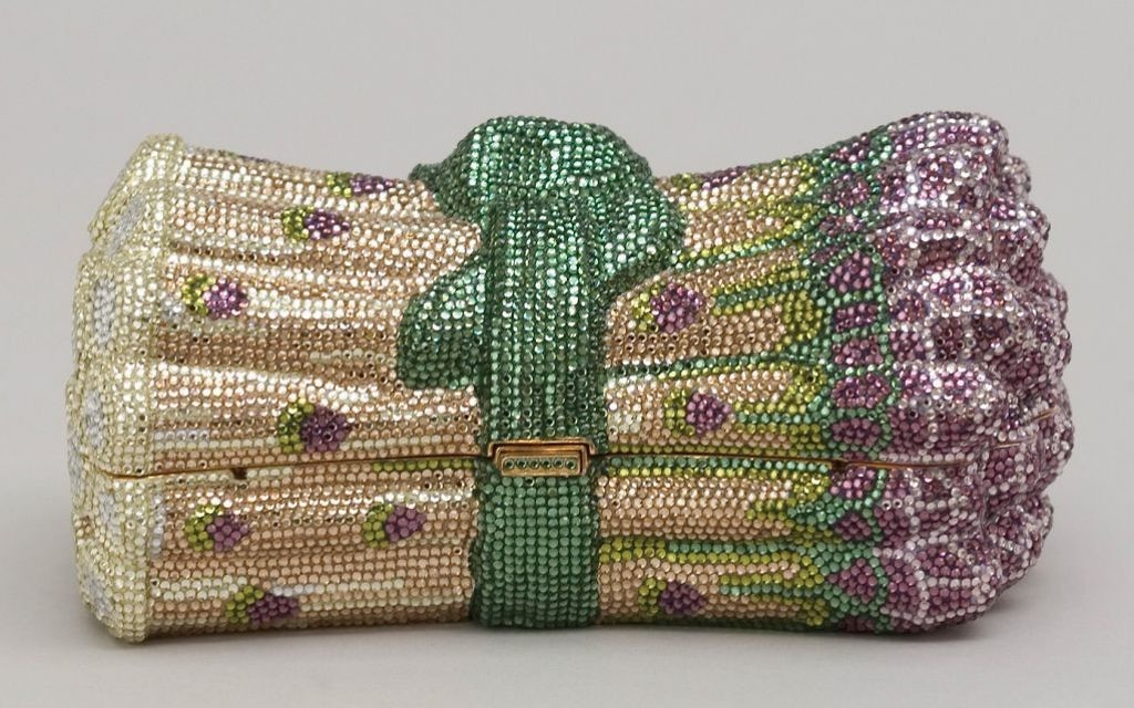 249913b54ee6 An asparagus-shaped minaudiere with multicolored crystal rhinestones.  Courtesy of The Museum of Art