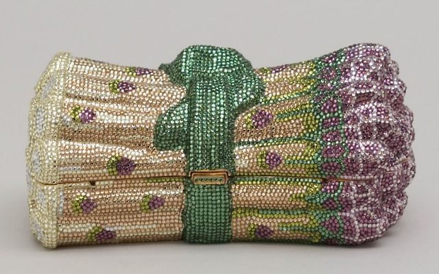 An asparagus-shaped minaudiere with multicolored crystal rhinestones. Courtesy of The Museum of Art and Design