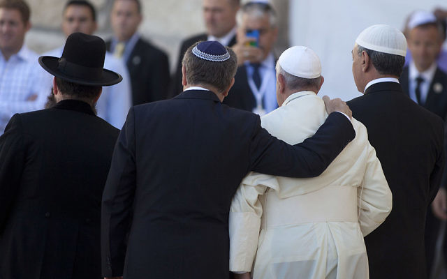 Pope Francis, Rabbi Abraham Skorka (2nd L) and the Rabbi of the Western Wall Shmuel Rabinovitz (L) leave the Western Wall, after the Pontiff prayed at the Wall on May 26, 2014 in Jerusalem, Israel. (Photo by Lior Mizrahi/Getty Images)