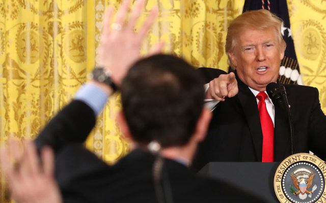 President Donald Trump speaking at a White House news conference, Feb. 16, 2017. (Mark Wilson/Getty Images)