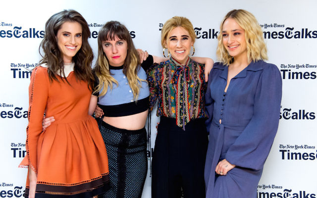 """The main cast of """"Girls"""" at a New York Times TimesTalks event. From left to right: Allison Williams, Lena Dunham, Zosia Mamet and Jemima Kirke. (Roy Rochlin/FilmMagic via Getty Images)"""