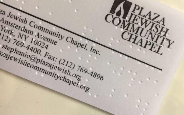 Plaza Jewish Community Chapel Card with Braille. Courtesy of Plaza Jewish Community Chapel