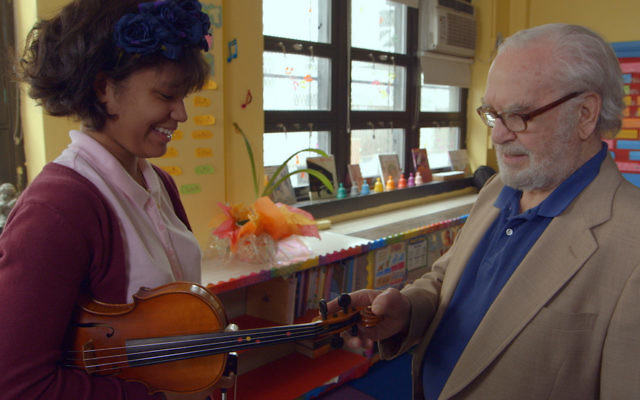 "Joe Feingold and Brianna Perez in the Oscar-nominated short documentary ""Joe's Violin."" JTA"