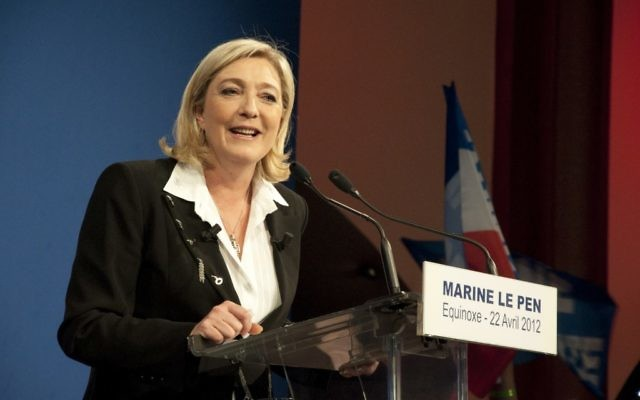 National Front leader Marine Le Pen speaking after the presidential election in which her party finished third, April 22, 2012. JTA