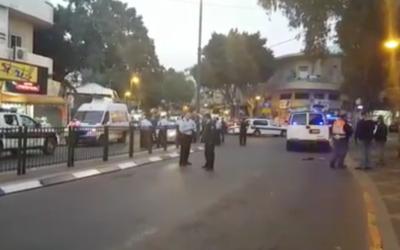 The scene after a terrorist attack in Petah Tikva, Israel, Feb. 9, 2017. (Screenshot from YouTube)