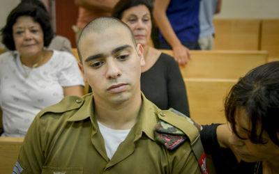 Elor Azaria at a military court hearing in Jaffa, Aug. 30, 2016. (Miriam Alster/Flash90)