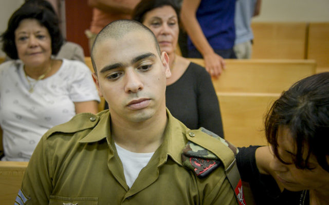 Elor Azaria at a military court hearing in Jaffa, Aug. 30, 2016. (Miriam Alster/Flash90)