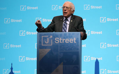 "WASHINGTON, DC - FEBRUARY 27:  Sen. Bernie Sanders delivers a speech during J Streets 2017 National Conference at the Washington Convention Center, on February 27, 2017 in Washington, DC. This year's theme is ""Defending Our Values, Fighting For Our Future.""  (Photo by Mark Wilson/Getty Images)"