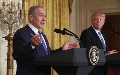 Israeli Prime Minister Benjamin Netanyahu speaking at a joint news conference with President Donald Trump at the White House, Feb. 15, 2017. Getty Images