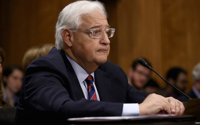 David Friedman, President Donald Trump's nominee to be the U.S. ambassador to Israel, concludes testifying before the Senate Foreign Relations Committee, Feb. 16, 2017. (Win McNamee/Getty Images)
