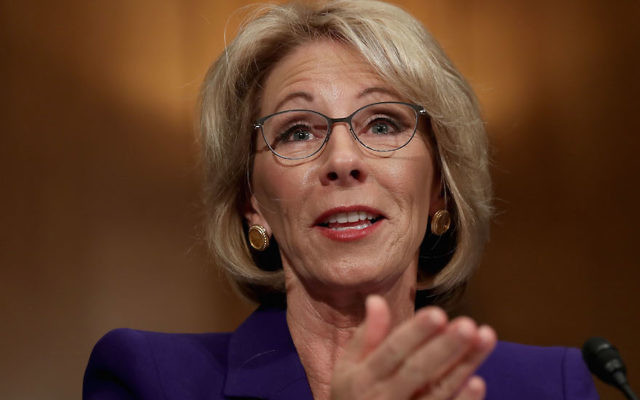 Betsy DeVos testifying during her confirmation hearing before the Senate Health, Education, Labor and Pensions Committee in the Dirksen Senate Office Building on Capitol Hill in Washington, D.C., Jan. 17, 2017. (Chip Somodevilla/Getty Images)