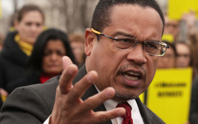 Rep. Keith Ellison speaking at a news conference in front of the Capitol, Feb. 1, 2017. (Alex Wong/Getty Images)