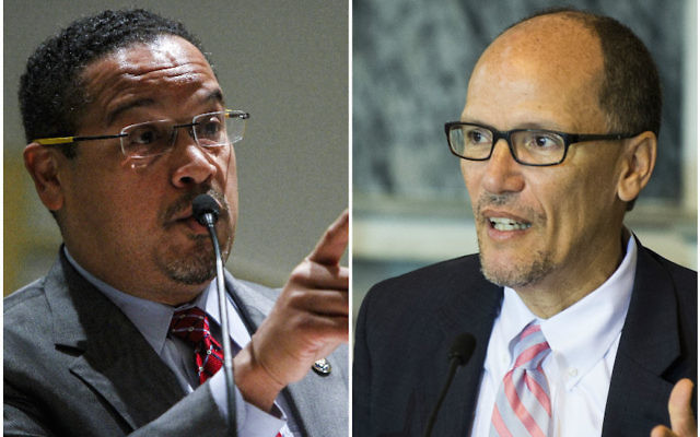 Keith Ellison, left, and Tom Perez lead the race to become the next head of the DNC. JTA