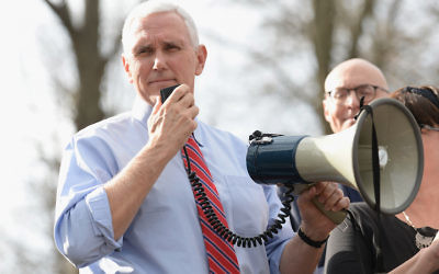 Vice President Mike Pence at a press conference at the Chesed Shel Emeth Cemetery in University City, Missouri, Feb. 22, 2017. (Michael Thomas/ Getty Images)