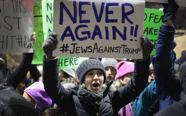 Demonstrators at Chicago's O'Hare Airport protesting Donald Trump's executive order imposing a freeze on admitting refugees from certain countries into the United States, Jan. 29, 2017. (Scott Olson/Getty Images)