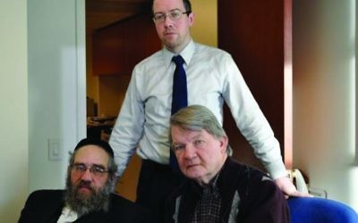 Sam Kellner with his attorneys Michael Dowd and Niall MacGiollabui. Courtesy of Niall MacGiollabui