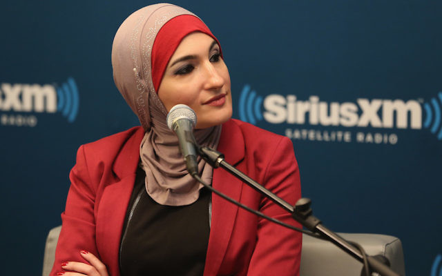 "Muslim activist Linda Sarsour at SiriusXM event ""Muslim In America"" at SiriusXM Studios in New York City, Oct. 26, 2015. Getty Images for SiriusXM"