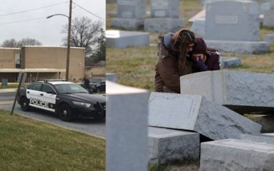 Top: Police block off streets around the JCC in Harrisburg, Pa., on Monday. Above: Mourners at Mt. Carmel Cemetery in Philadelphia, where about 100 headstones were toppled. CREDITS: CBS 21 NEWS (JCC), GETTY IMAGES (CEMETERY)