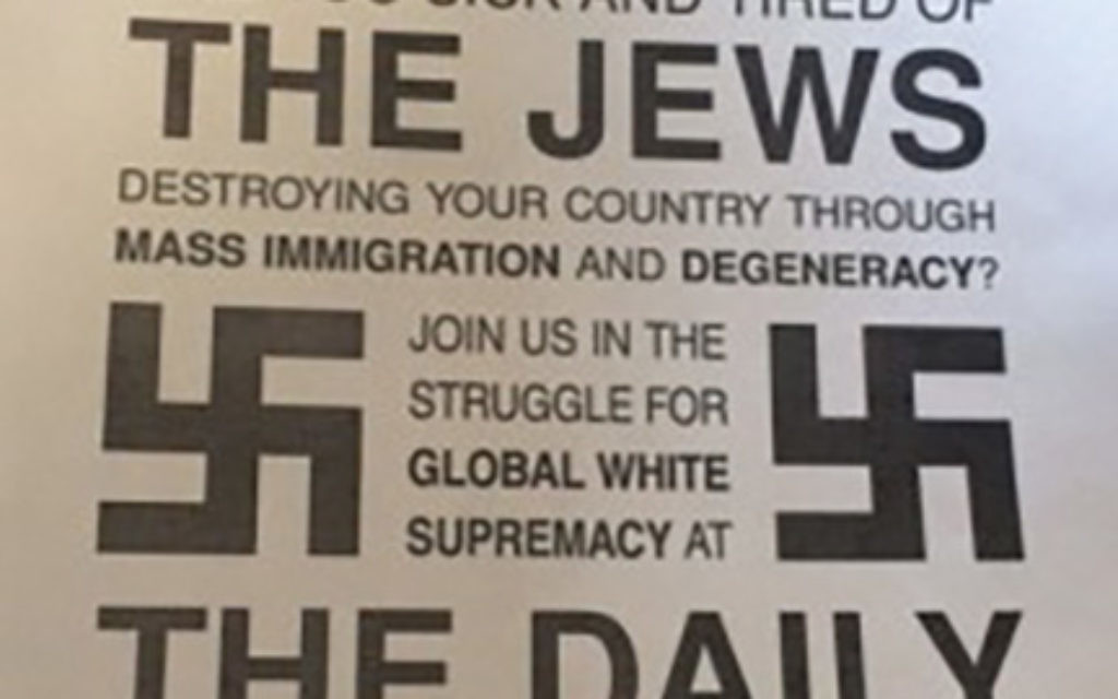 This poster is part of an expanding white supremacist recruitment drive on college campuses.  Courtesy of ADL