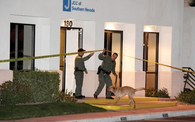 Las Vegas police department K-9 officers search the JCC of Southern Nevada after a bomb threat was called in recently. Getty Images