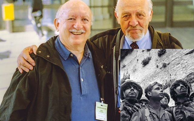 """Arnold Drapkin, above left, former photography editor of Time magazine, called photographer David Rubinger a """"great raconteur."""" Mr. Rubinger, who died last week, took the iconic picture of Israeli soldiers at the Western Wall. PHOTO COURTESY ARNOLD DRAPKIN"""