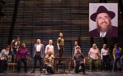 "A scene from ""Come From Away,"" with Geno Carr (kneeling with cap) as Chabad Rabbi Leivi Sudak, small photo. Matthew Murphy"