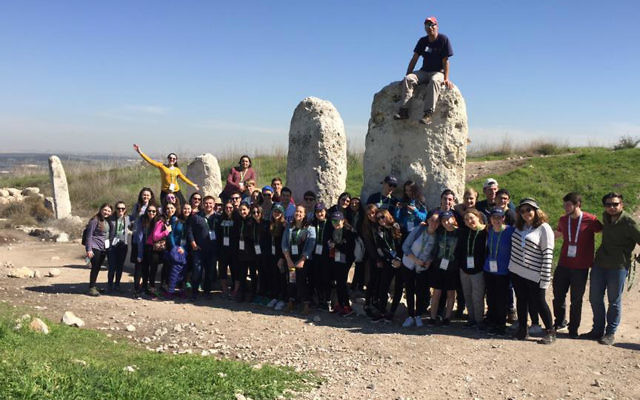 The Write On For Israel students on their recent educational trip to Israel. Tuvia Book./W