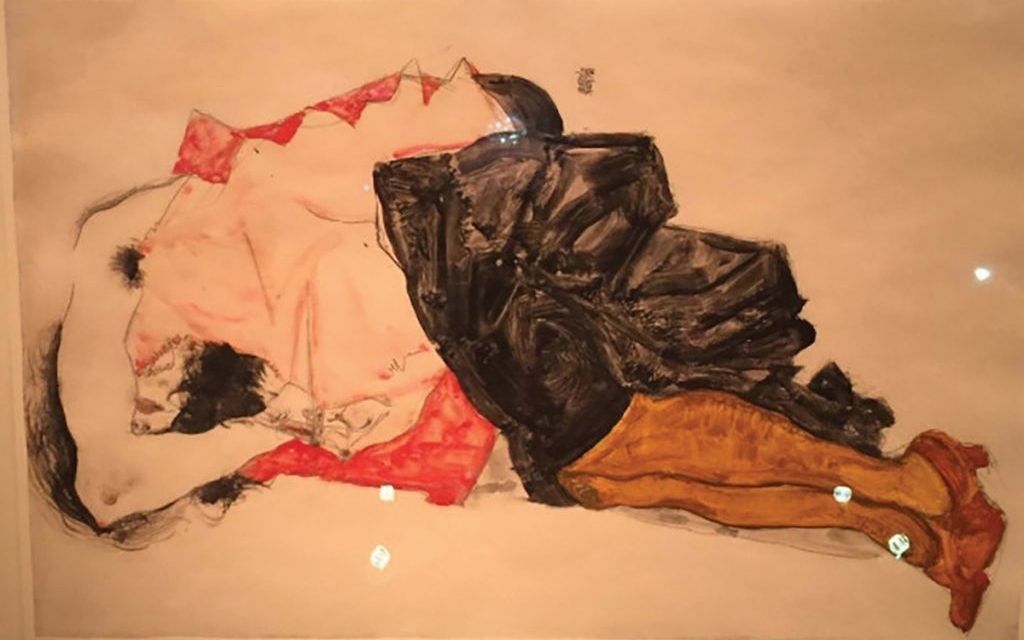 "Schiele's ""Woman Hiding Her Face."" Courtesy of Hank Sheinkopf"