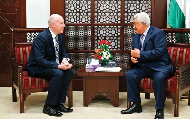 Trump aide Jason Greenblatt, left, and Palestinian Authority President Mahmoud Abbas meeting this week in Ramallah. Getty Images