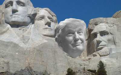 """Where's Teddy? President Trump's new infrastructure initiative to create jobs includes renovation of Mt. Rushmore. Trump will replace Teddy Roosevelt with his own image. """"All in good taste,"""" he assured Americans."""