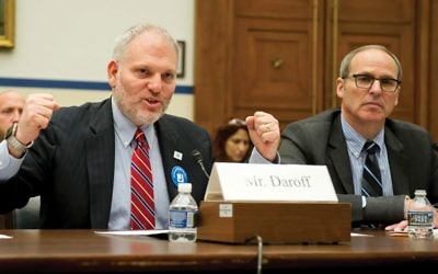 William Daroff, left, the Washington director of JFNA, and Michael Feinstein, the director of a JCC in suburban Washington, D.C., testify last week before a House subcommittee. Ron Sachs