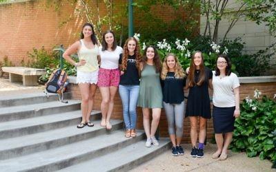 Ambassadors: Rachel Berman (VT), Tova Kline (Hofstra), Eden Rubin (Hillel 818), Sophie Kijel (USC), Harley Schoen (Cincinnati), Lily Rosenkrantz (UW), and Aderet Averick (CSI). Courtesy of Hillel International