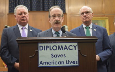 Rep. Eliot Engel of New York speaking at a news conference held by Democrats on the House Foreign Affairs Committee criticizing the Trump administration's proposed cuts to foreign spending, March 16, 2017. Engel is joined by Reps. Albio Sires, left, of New Jersey, and William Keating of Massachusetts. JTA