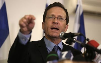 Israeli opposition leader Isaac Herzog, talks to the press in Jerusalem. Getty Images