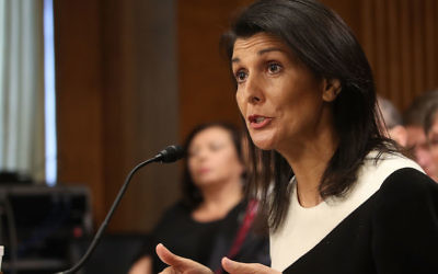 WASHINGTON, DC - JANUARY 18:  Gov. Nikki Haley, (R-SC), speaks during her Senate Foreign Relations Committee confirmation hearing on Capitol Hill, January 18, 2017 in Washington, DC. Haley was nominated by President-elect Donald Trump to become representative of the United States of America to the United Nations.  (Photo by Mark Wilson/Getty Images)