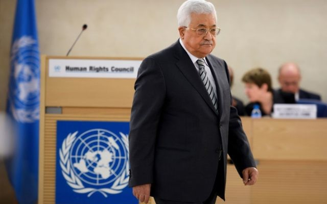 Palestinian President Mahmud Abbas arrives to delivers a speech during the United Nations Human Rights Council on February 27, 2017.  Leaders of the U.S. Reform movement met with Abbas in Ramallah this week. Getty Images