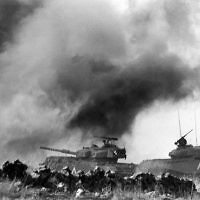 Israeli tanks battle against the Syrian armor on the Golan Heights, during the Yom Kippur war 09 October 1973. DAVID RUBINGER/AFP/Getty Images
