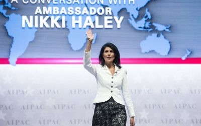 Nikki Haley, then, US Ambassador to the United Nations, arrives to address the American Israel Public Affairs Committee (AIPAC) policy conference in Washington, DC, on March 27, 2017. Getty Images