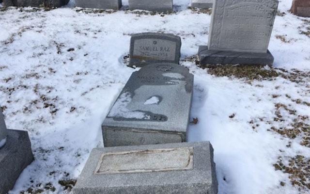 An earlier cemetery vandalism at Waad Hakolel Cemetery, in Rochester, N.Y. JTA