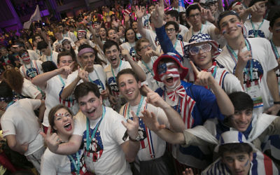 Jewish teens celebrating at the 2017 BBYO International Convention in Dallas.  JTA