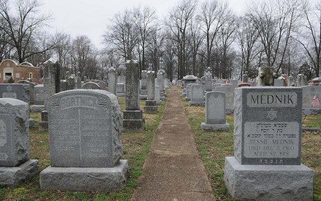 Headstones at the vandalized Chesed Shel Emeth Cemetery in University City, Mo., Feb. 22, 2017. JTA