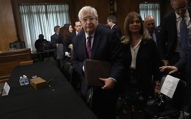 David Friedman, President Donald Trump's nominee to be the U.S. ambassador to Israel, concludes testifying before the Senate Foreign Relations Committee, Feb. 16, 2017. JTA
