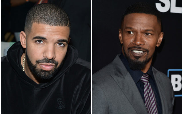 Drake, left, and Jamie Foxx performed at a recent bar mitzvah in the Netherlands. (Getty Images)