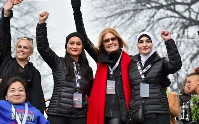 Palestinian activist Linda Sarsour was a featured speaker at the Women's March, alongside Gloria Steinem. Getty Images.